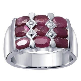 Essence Jewelry 925 Sterling Silver 3 15 Ct Ruby Cocktail Unisex Ring