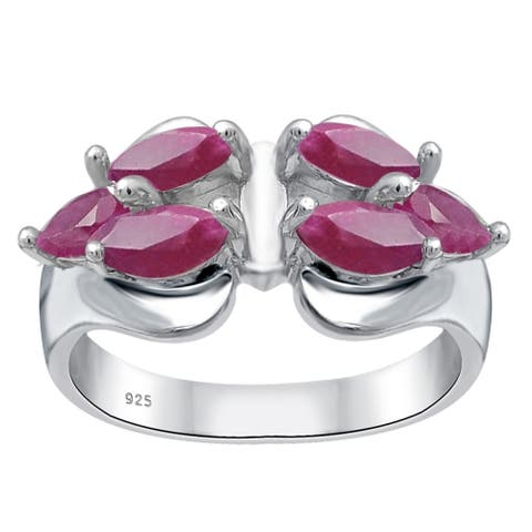 Ruby Sterling Silver Marquise Wedding Ring by Essence Jewelry