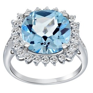 Essence Jewelry 925 Sterling Silver Simulated Blue Topaz, White Topaz & Diamond Halo Cocktail Ring