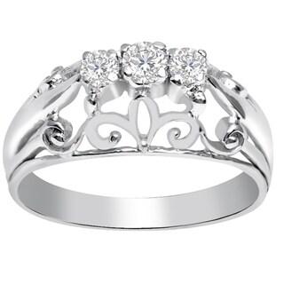 Essence Jewelry 0.45 Carat White Topaz 925 Sterling Silver Fligree Ring