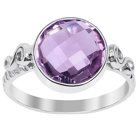 Amethyst Sterling Silver Round Engagement Ring By Essence Jewelry