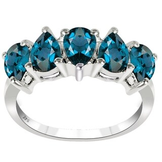 Essence Jewelry Sterling Silver 2.1 Ct. London Blue Topaz 5 Stone Ring