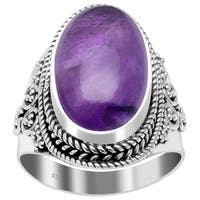 Handmade Oxidized Bali Beaded Oval Multi Gemstone Sterling Silver Ring