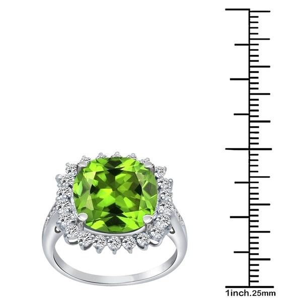 Sterling Silver Heart Green Peridot Women/'s Ring 0.66 Carat