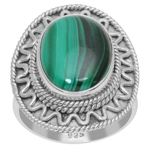 Malachite Sterling Silver Oval Filigree Ring by Essence Jewelry