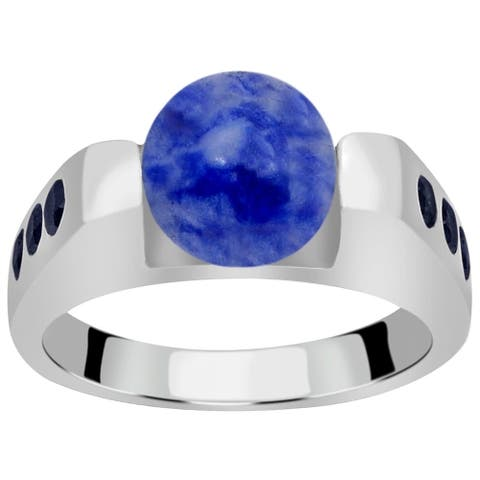 Bluedot Agate, Sapphire Sterling Silver Ball, Round Halo Ring by Essence Jewelry