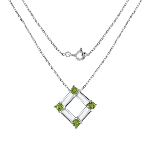 Sterling Silver w// 14k Polished Peridot Chain Slide Pendant