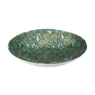 Accent Plus Abstract Peacock Decorative Bowl in Metallic Green and Gold