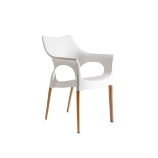 Set of 4 Dining Chairs White NATURAL OLA