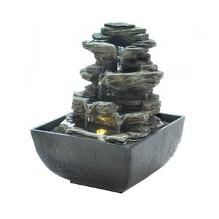 Cascading Fountains Classic Tiered Rock Formation Decorative Tabletop Fountain