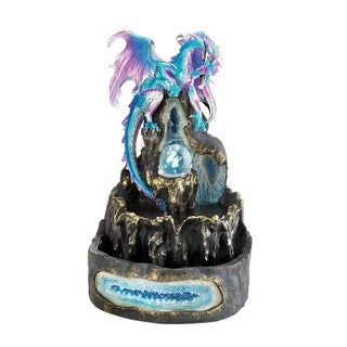 Dragon Crest Decorative Ice Age Dragon Fountain with LED Light and Clear Glass Orb