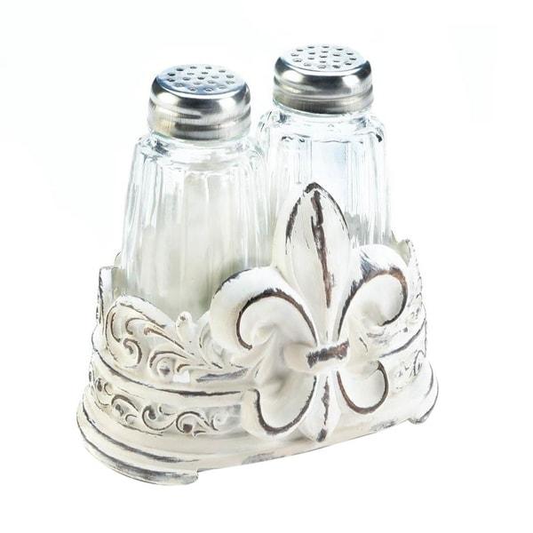 Accent Plus Fleur De Lis Kitchen Decorative Tabletop Salt And Pepper Shaker Holder Set Free Shipping On Orders Over 45 25691012