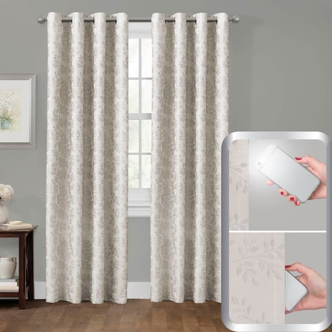 Certified 100 Percent Blackout Everly Embroidered Smart Curtain