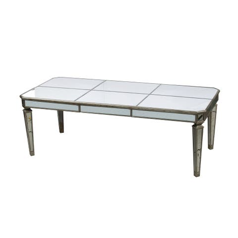 Vintage Glamour Antique Silver Mirrored Table, 88.5x40x31 inches