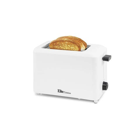 Elite Cuisine ECT-1027 Cool Touch Toaster with Extra Wide Slots, White