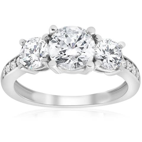 Pompeii3 14k White Gold 2 Ct Three Stone Diamond Engagement Ring