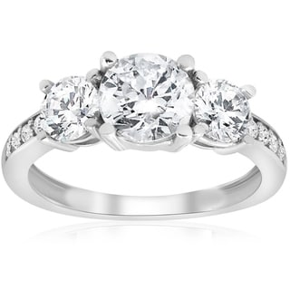 Pompeii3 14k White Gold 2 Ct Three Stone Diamond Engagement Ring 14k White Gold