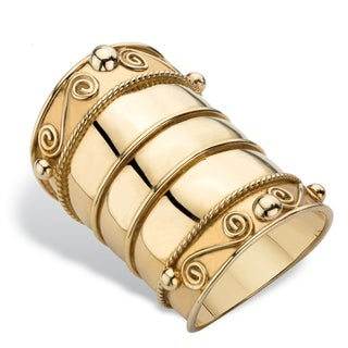 Gold over Sterling Silver Bohemian Wide Cigar Band Scroll Ring (13mm)