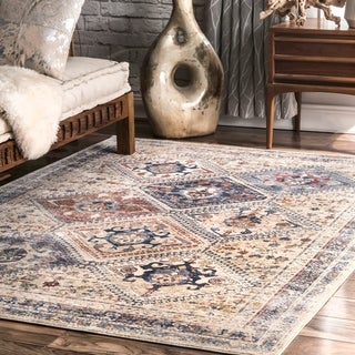 The Curated Nomad Burnett Ivory Transitional Tribal Tiles Area Rug