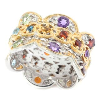 Michael Valitutti Palladium Silver Swiss Blue Topaz, Citrine & Multi Gemstone Scalloped Edge Wishing Ring