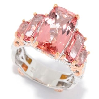 Michael Valitutti Palladium Silver Morganite Color Topaz Graduated 5-Stone Ring