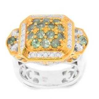 Michael Valitutti Palladium Silver Alexandrite & White Zircon Halo Ring