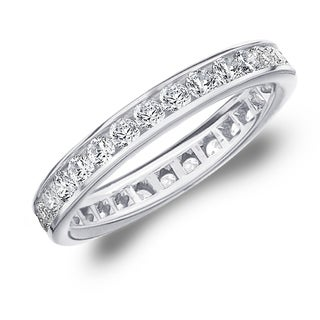 1CT Classic Channel Set Lab Grown Diamond Eternity Ring in White Gold, E-F Color / VS Clarity
