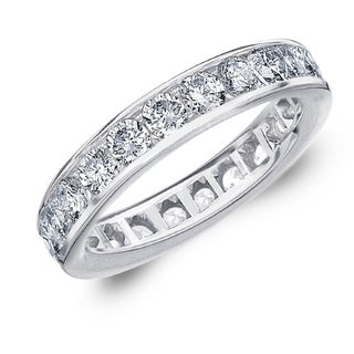 2CT Classic Channel Set Lab Created Diamond Eternity Ring E F VS