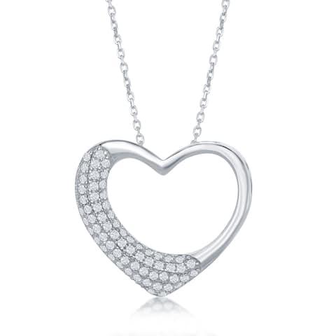 La Preciosa Sterling Silver Micro Pave Open Heart Pendant