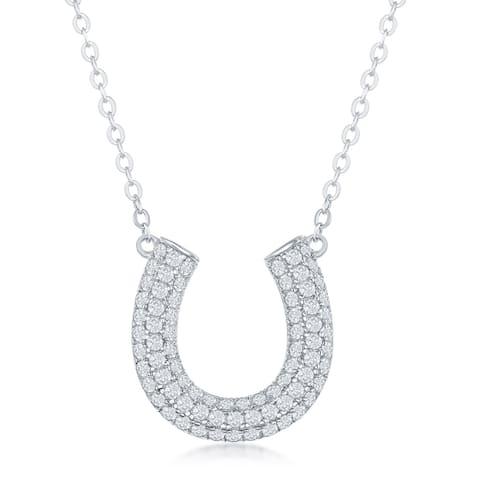 La Preciosa Sterling Silver Cubic Zirconia Horseshoe16+2'' Necklace - heart