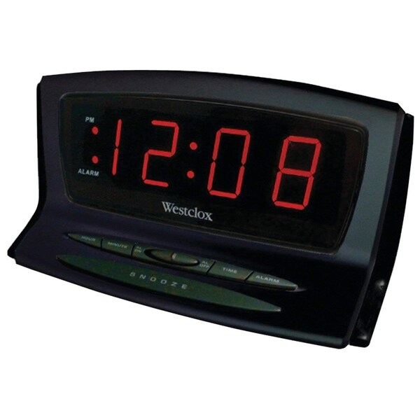 Westclox Digital LED Snooze Black Auto Set Alarm Clock 70012BK