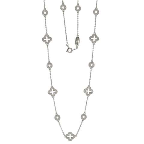 Suzy Levian Sterling Silver White Cubic Zirconia Clover & Circle Station Necklace