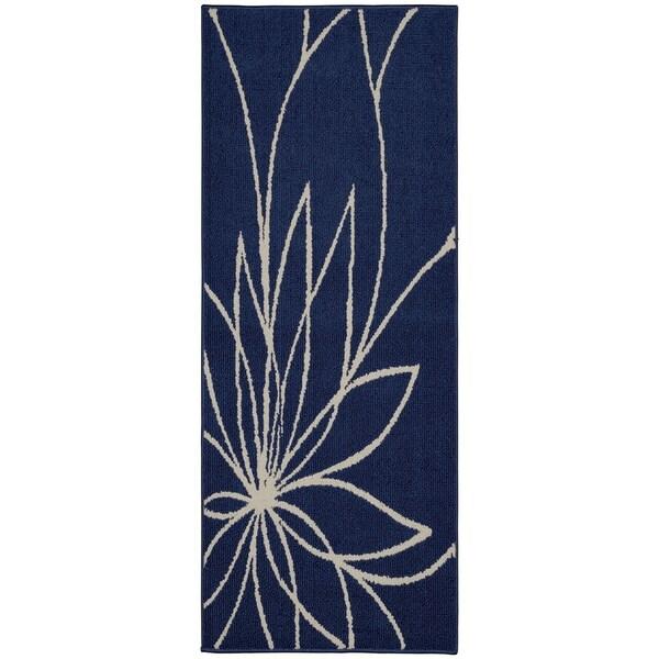 Grand Floral Indigo/Ivory Living Room Area Rug Runner