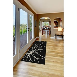Grand Floral Black/Ivory Living Room Area Rug Runner