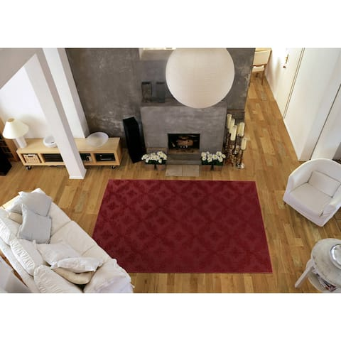 Charleston Chili Red Living Room Area Rug