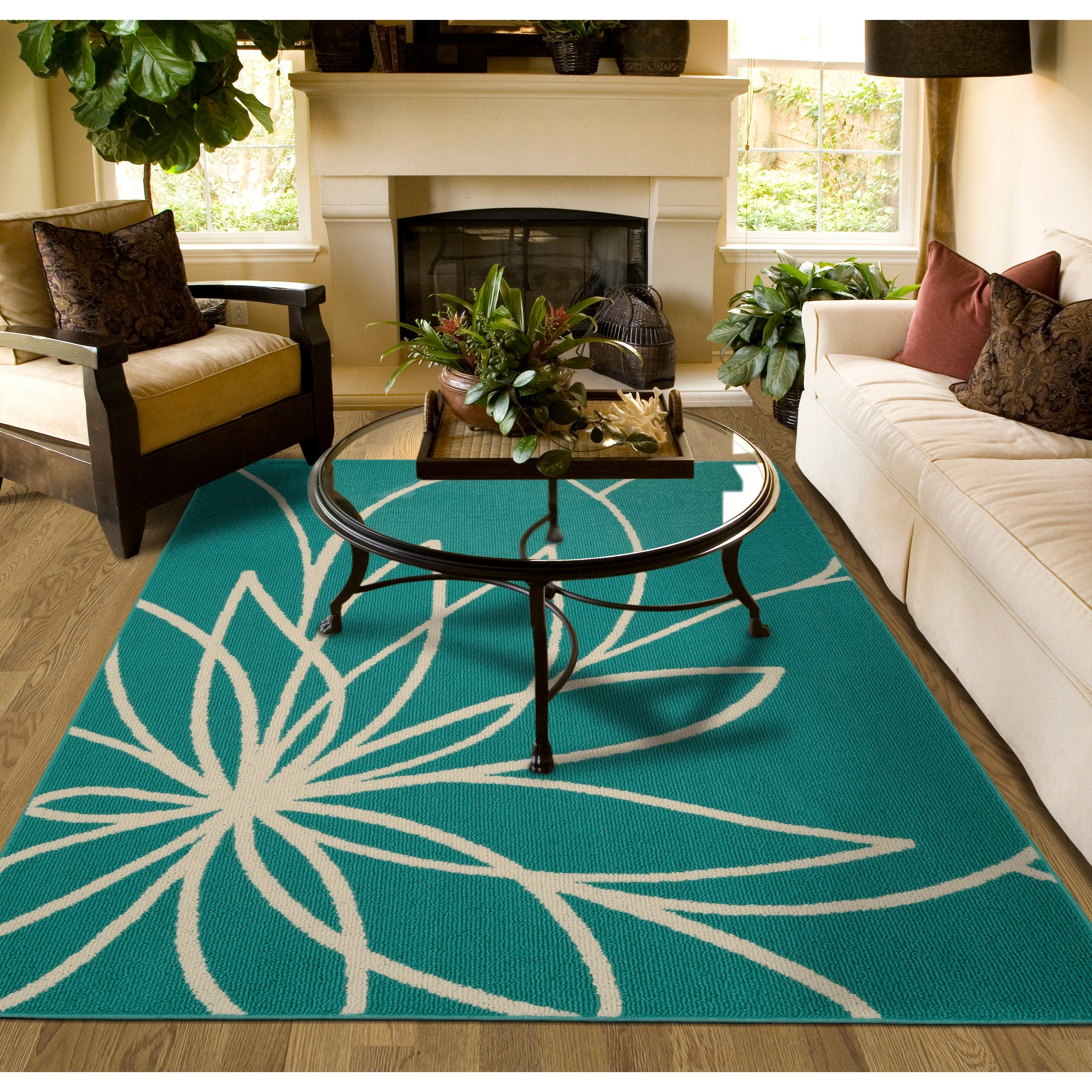 Grand Floral Teal/Ivory Large Living Room Area Rug