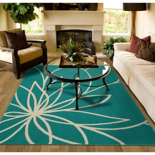Shop Grand Floral Teal/Ivory Large Living Room Area Rug