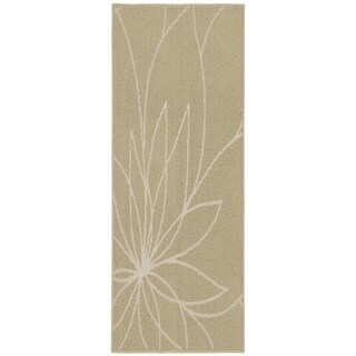 Grand Floral Tan/Ivory  Living Room Area Rug Runner