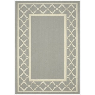 Moroccan Frame Silver/Ivory Living Room Area Rug