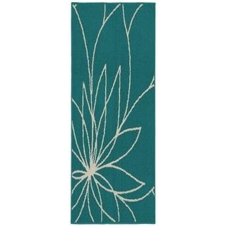 Grand Floral Teal/Ivory Living Room Area Rug Runner