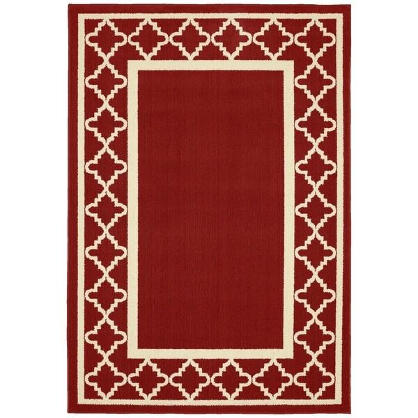 Moroccan Frame Crimson/Ivory Living Room Area Rug