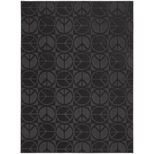 Large Peace Black Living Room Area Rug