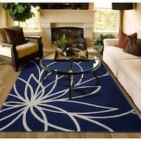 Grand Floral Indigo/Ivory Large Living Room Area Rug