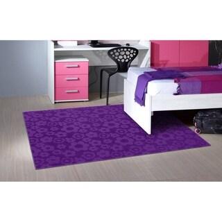 Flowers Purple Living Room Area Rug