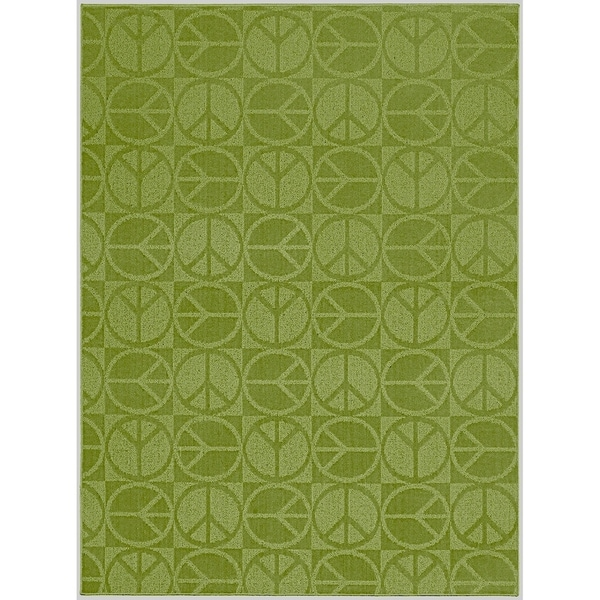 Large Peace Lime Green Living Room Area Rug