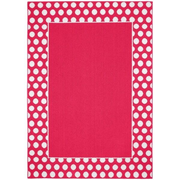 Polka Dot Frame Pink/White Living Room Area Rug - 5' x 7'