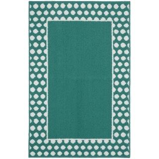 "Polka Dot Frame Teal/White  Living Room Area Rug - 30"" x 46"""