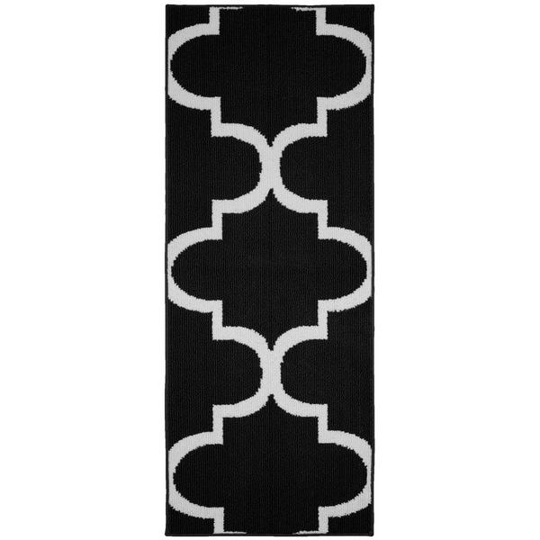 Quatrefoil Black/White Living Room Area Rug Runner