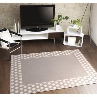 Polka Dot Frame Silver/White Living Room Area Rug - 5' x 7'