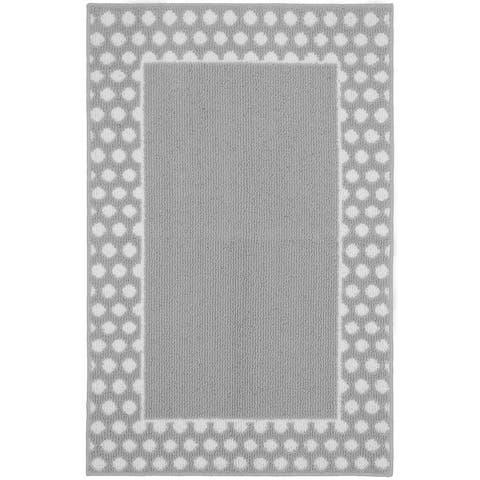 "Polka Dot Frame Silver/White Living Room Accent Rug - 30"" x 46"""